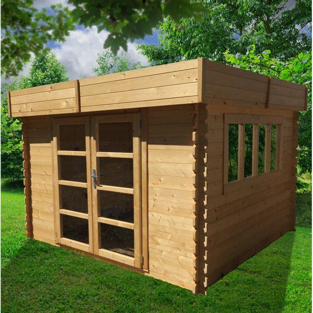chalet jardin abri de jardin toit plat soleil 3x3 m pas cher achat vente abris en bois. Black Bedroom Furniture Sets. Home Design Ideas