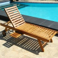 Bois Dessus Bois Dessous - Bain de soleil / chaise longue en teck huilé