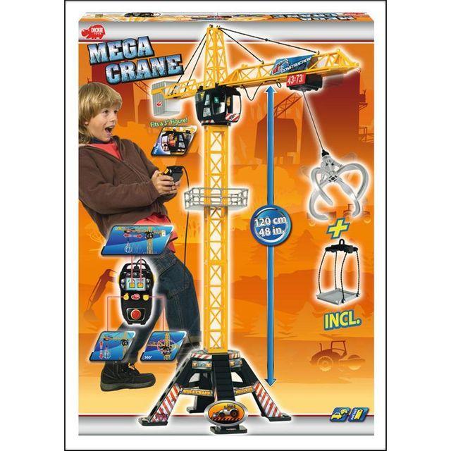 Dickie 203462412 Grue Mega Crane de 120 cm avec télécommande à fil