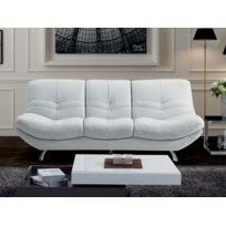 la maison du canap canap 3 places diane cuir suprieur blanc - Canape Angle Arrondi