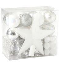 Feerie Christmas - Kit de décoration pour sapin de Noël - 44 Pièces - Argent et blanc