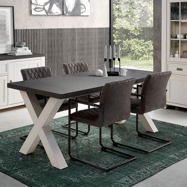 Nouvomeuble Table 190 cm contemporaine blanc et gris Etienne