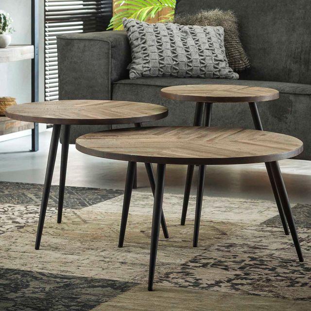 Nouvomeuble Table basse gigogne en bois Elvina
