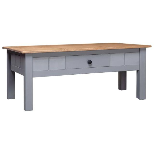 Vidaxl Pin Massif Table Basse Gris Table d'Appoint Salon Canapé Intérieur
