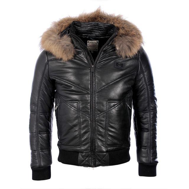 Kaporal 5 - Kaporal homme Premium - Doudoune en cuir noire à capuche Jack  hiver 2017 8a48c1ba51b