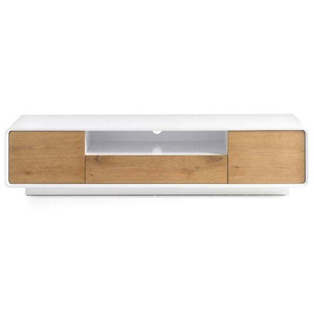 Inside 75 Meuble Tv design scandinave Tally 2 portes 1 tiroir laqué blanc mat et chêne massif