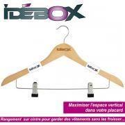 Idebox - Set de 3 cintres en bois à pinces