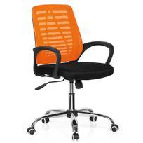 Hjh Office - Siège de bureau / siège tournant Vido Net tissu noir / orange
