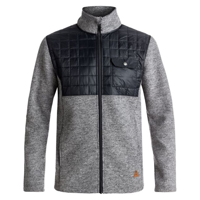 274bfcbea760 Quiksilver - Into The Wild Hybrid Polaire Homme - Taille S - Gris - pas  cher Achat   Vente Pull homme - RueDuCommerce