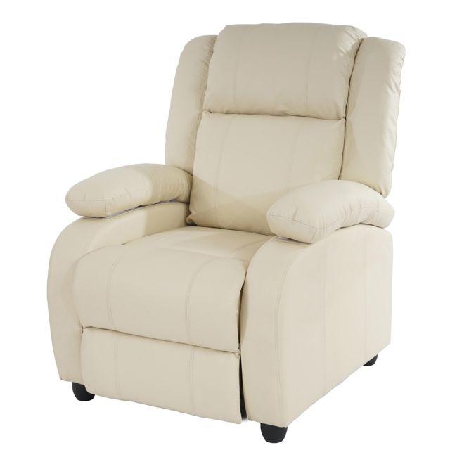 Mendler Fauteuil de télévision, fauteuil relax Lincoln, relaxation, similicuir ~ crème
