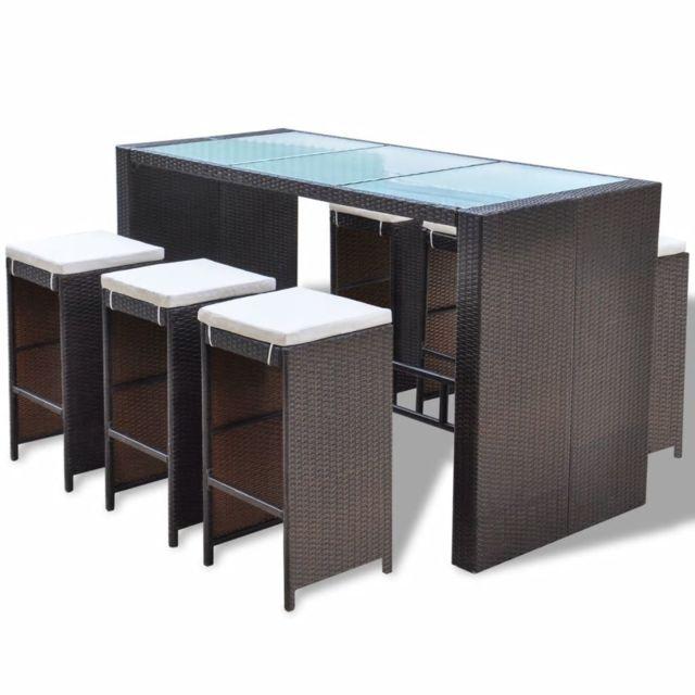 Icaverne - Ensembles de meubles d'extérieur ensemble Jeu de bar de jardin 13 pcs Marron Résine tressée