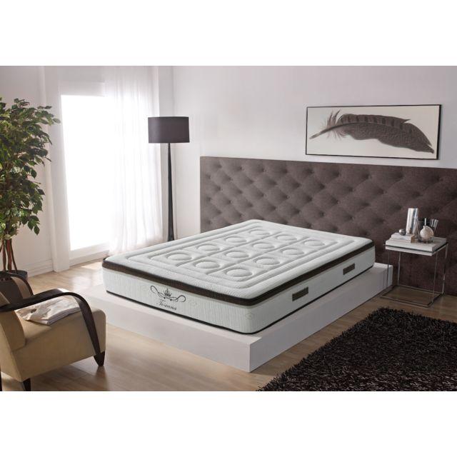 Bezen Matelas extradoux 7 zones 90X190 à mémoire de forme 21 cm - Toscana Deluxe - équilibré - Literie confort