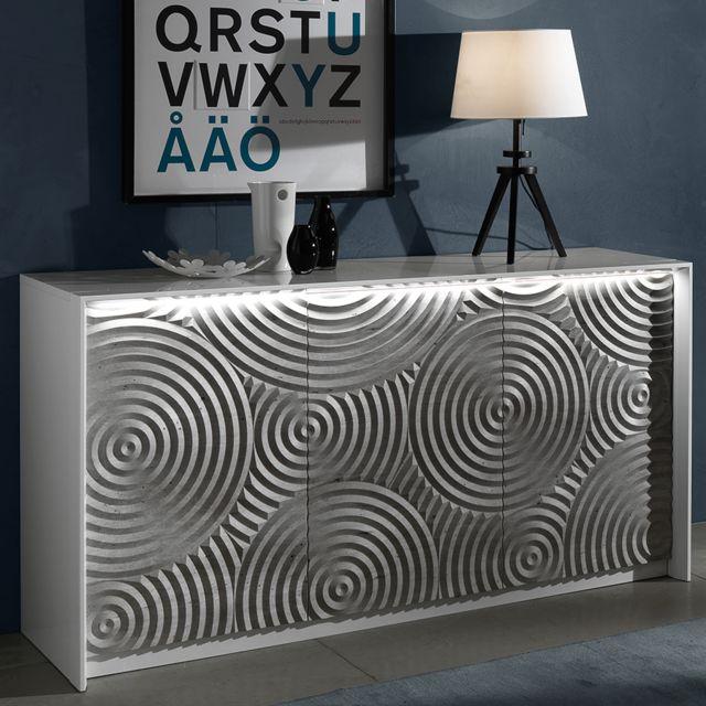Nouvomeuble Petit buffet 150 cm blanc et gris design Torio