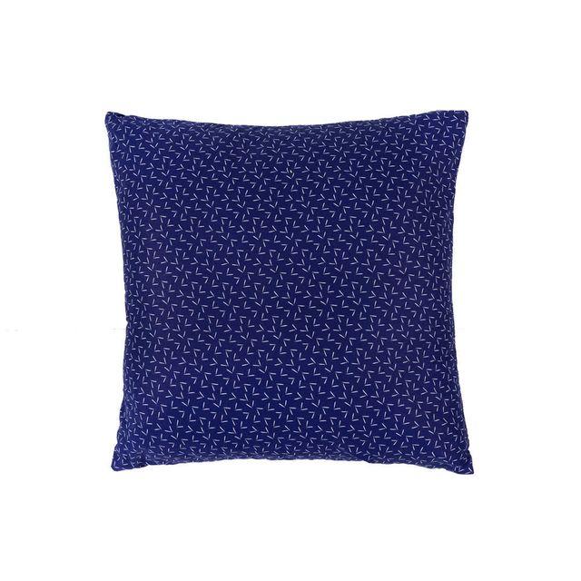 Urban Living - Coussin déhoussable 100% coton motif tirets confettis blanc fond bleu 50x50cm Thai - Bleu marine 0cm x 0cm