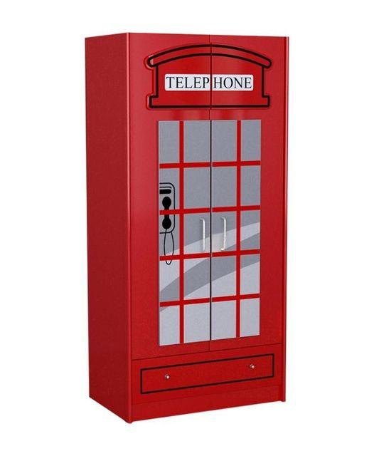Comforium Armoire à 2 portes 90 cm en Mdf coloris rouge design