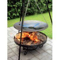 Cook - Maison De La Tendance - La poêle, le Wok à feu de camp spécial brasero sur trépied Ø 46 cm + Brasero Malta 70 cm