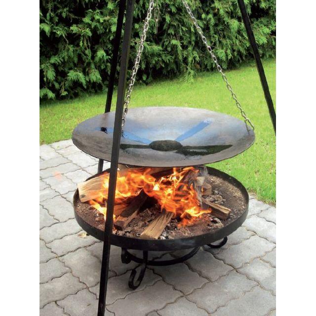 Cook - Maison De La Tendance La poêle, le Wok à feu de camp spécial brasero sur trépied Ø 33 cm + Brasero Malta 60 cm