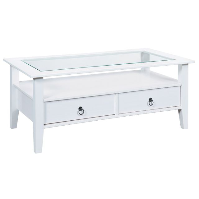 Comforium Table basse 115x60 cm en pin massif coloris blanc