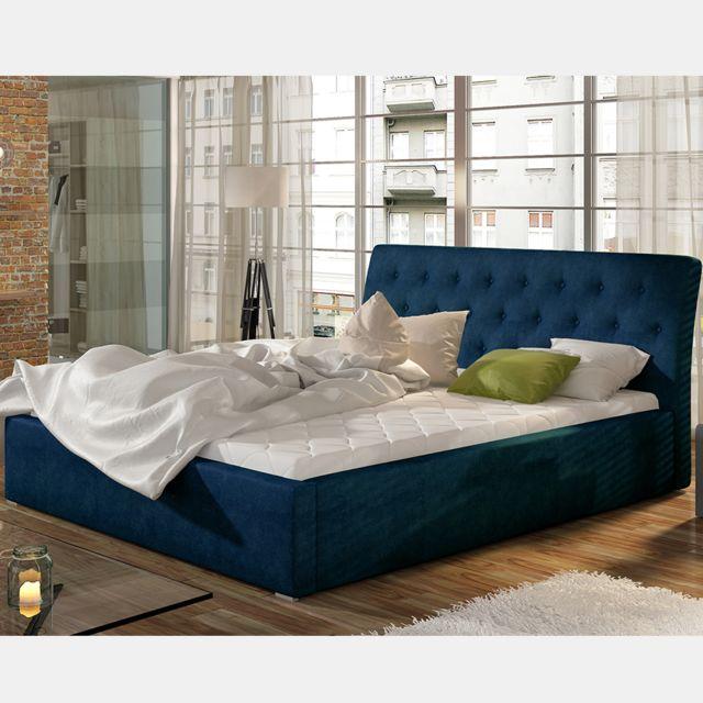 Nouvomeuble Lit coffre 200x200 cm en tissu bleu Milas