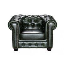 Linea Sofa - Fauteuil chesterfield Brenton 100% cuir de buffle - Vert empire