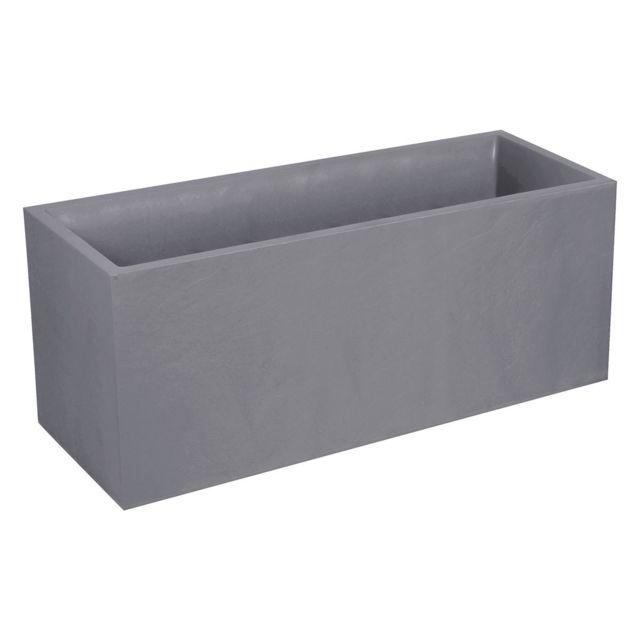 EDA Plastiques Jardini/ère VOLCANIA d/écor pierre gris anthracite 99,5 x 39 x 43-98 L