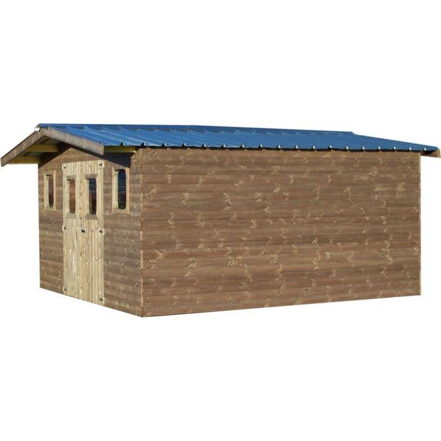 HABRITA Abri THERMABRI madriers sans plancher, toit double pente bac acier 23,82 m²