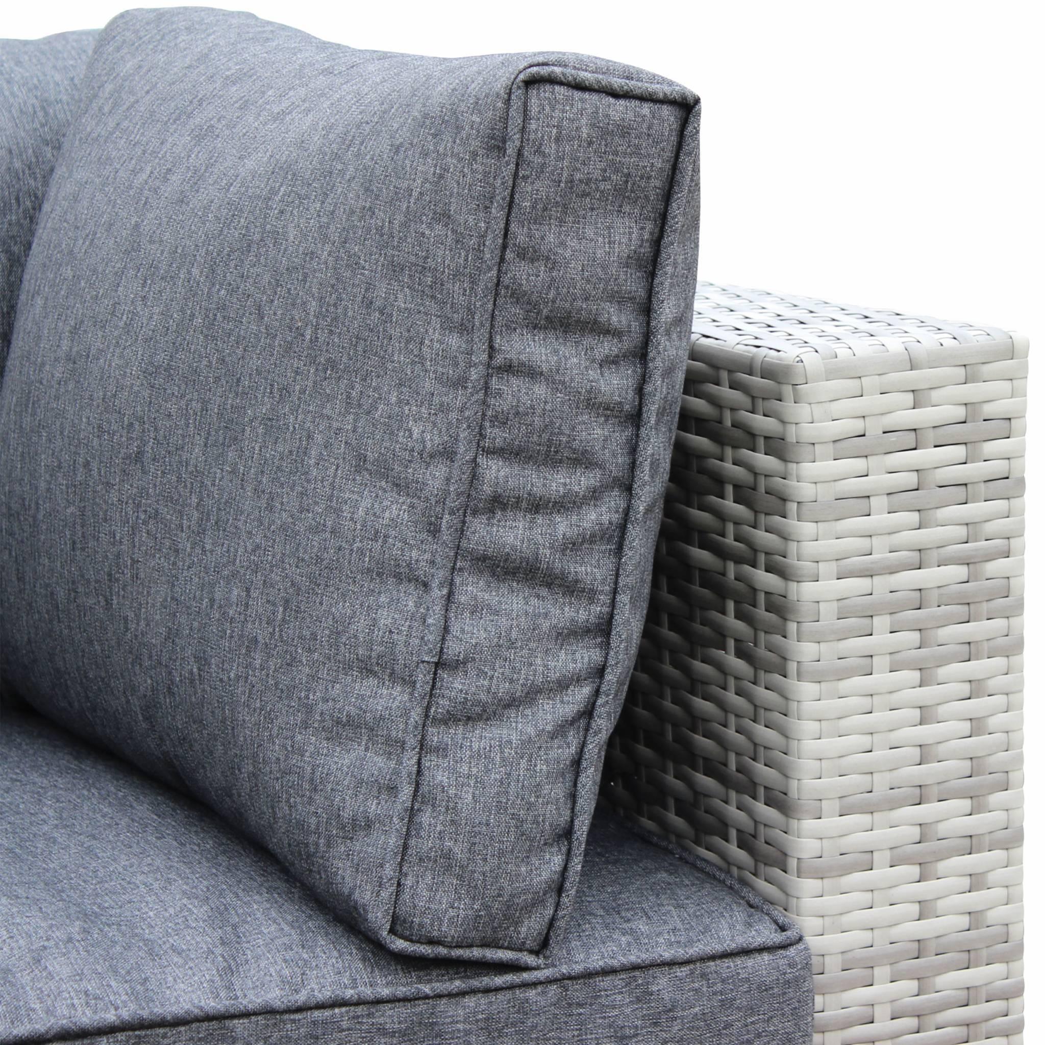 Caligari Nuances de gris / Gris - Salon de jardin table en résine tressée nuances de gris 5 places Caligari canapé fauteuil