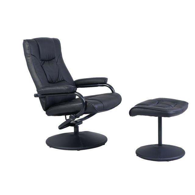 La Chaiserie Fauteuil Relax Inclinable avec Repose-pieds Siège de Salon Chaise de Bureau Design Contemporain Ergonomique Noir