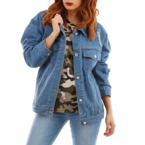 Veste en jean oversize femme pas chere