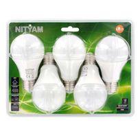 Nityam - Lot de 5 ampoules standard Led E27 6W équivalence 40W blanc chaud