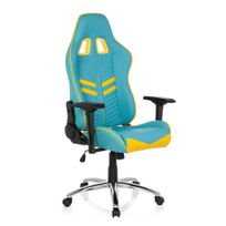 Hjh Office - Chaise gaming / Chaise de bureau League Pro simili cuir bleu / jaune