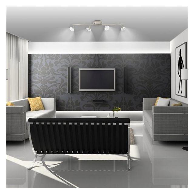 Xelux Plafonnier luminaire Rampe de plafond acier brossé 4 Spots orientables 4 x 35 W culot Gu 5.3