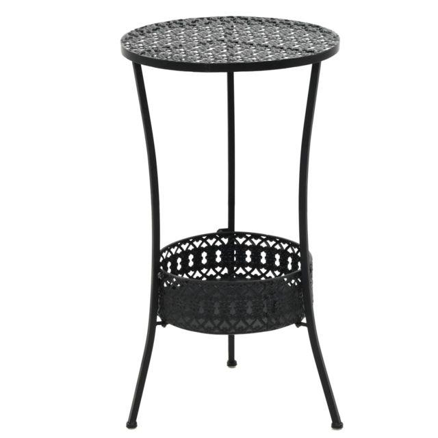 Table de bistro Style vintage Ronde Métal 40 x 70 cm Noir