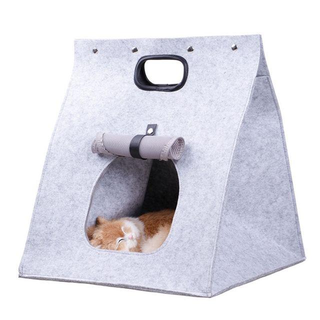Wewoo Sac amovible transporteur lit pliant chat litière chien Gris