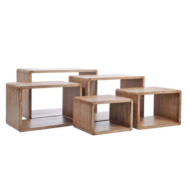 Tousmesmeubles Set de 5 tables gigognes bois naturel - Girolle - L 78 x l 42 x H 50