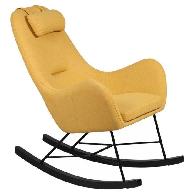 Tousmesmeubles Rocking Chair Jaune - Means