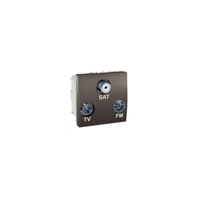 schneider electric prise t l vision radio fm sat 2 modules graphite schneider unica. Black Bedroom Furniture Sets. Home Design Ideas