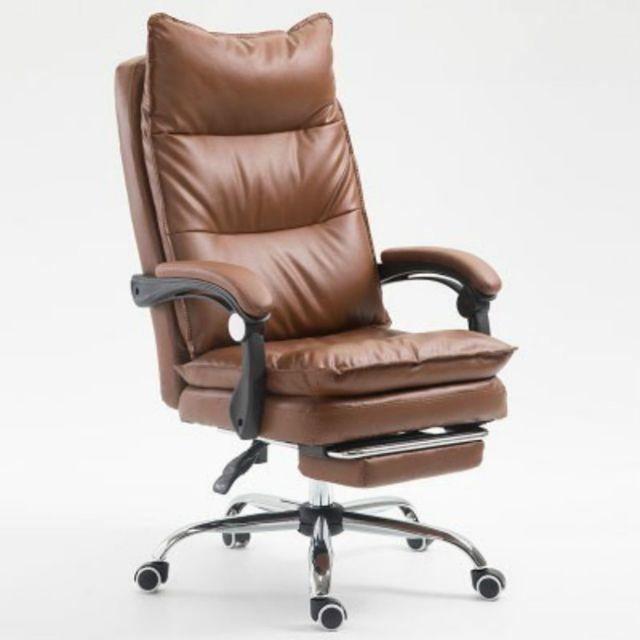 Wewoo Fauteuil de jeu ergonomique en cuir synthétique avec pieds acier pour chaise de Office E-sports ambre