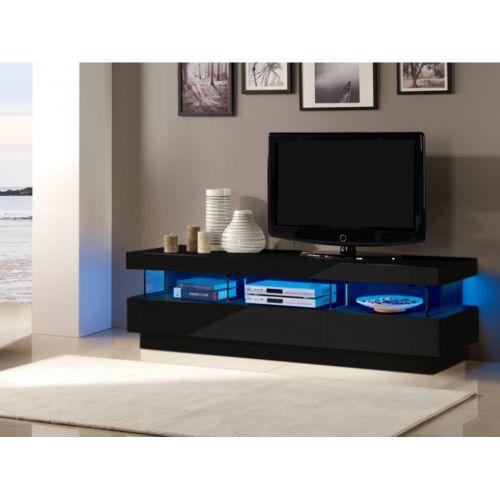 vente unique meuble tv fabio mdf laqu noir leds 3 tiroirs 3 niches pas cher achat. Black Bedroom Furniture Sets. Home Design Ideas