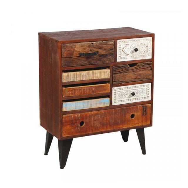 Dansmamaison Commode 8 tiroirs en bois de Palissandre - Verden - L 70 x l 36 x H 86 cm