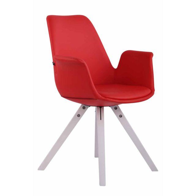 Inedit Chaise de salle à manger, de cuisine, de salon Bissau Cuir synthetique blanc carré