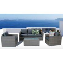 Salon de jardin aluminium + resine tressé, coloris marron coussins gris  foncé
