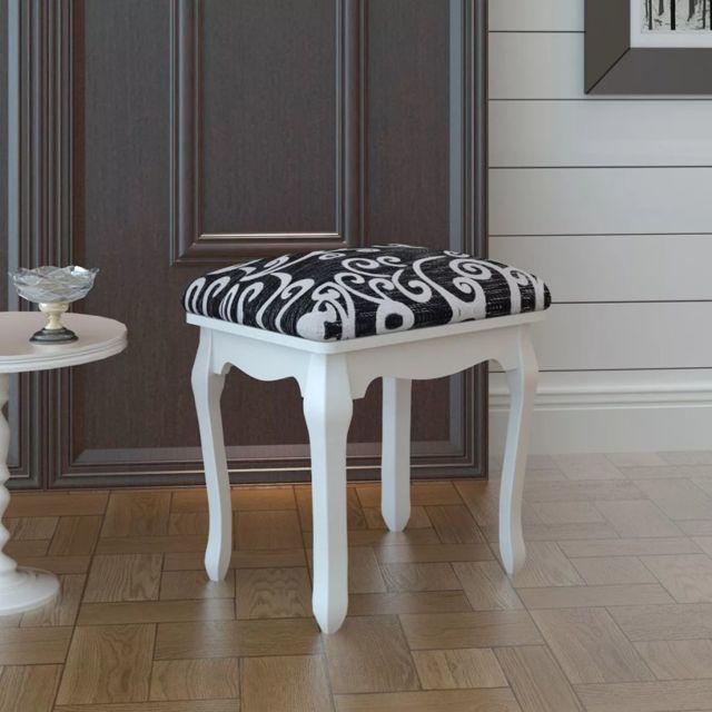 vidaxl tabouret pouf pour coiffeuse en bois pas cher achat vente banc de lit rueducommerce. Black Bedroom Furniture Sets. Home Design Ideas