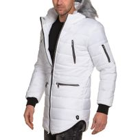 Uniplay - Doudoune longue homme blanche capuche fourrure
