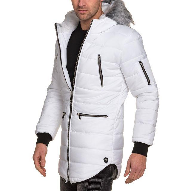 Conception innovante 44b6b 3fede Uniplay - Doudoune longue homme blanche capuche fourrure ...