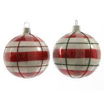 Kaemingk - Boule de noël en verre motifs carreaux rouge et blanc D.7cm - Lot de 6 Sweet Xmas