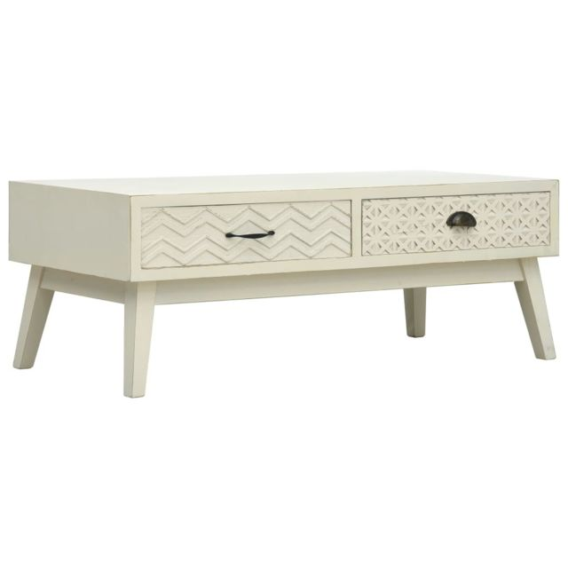 Vidaxl Bois Table Basse avec 2 Tiroirs 110x50x40 cm Table d'Appoint Salon