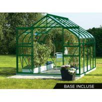 LAMS - Serre de jardin en verre Diana 11,50 m² + Base - Vert - pas ...