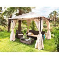 CARREFOUR - Tonnelle de jardin ARGENTONA - L 300 x l 300 x H 270 cm - Beige