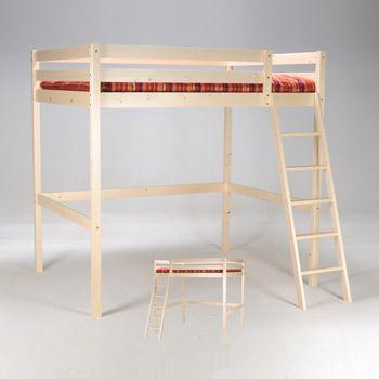 no name lit mezzanine 140x190 studio 1 sommier naturel pas cher achat vente structures. Black Bedroom Furniture Sets. Home Design Ideas